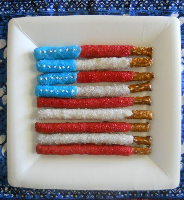 Pretzel Americana by puertabella #Pretzel #Flag #puertabella: Holiday, 4Thofjuly, Dipped Pretzel, Food, 4Th Of July, July 4Th, Pretzels, July Pretzel