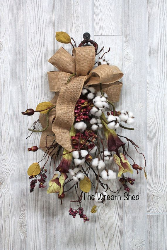 """Ships Free, 2nd Anniversary Cotton, 24"""" Cotton Boll Swag, Natural Cotton Bolls, Anniversary Gift, Farmhouse Swag, Cotton Boll Stems, Cotton"""