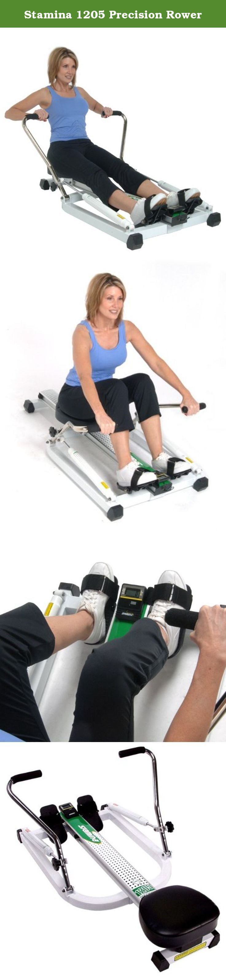 Stamina 1205 Precision Rower. Provides a low-impact, full-body workout for professional-quality results at home Precision extruded aluminum beam and deluxe ball-bearing roller system Smooth piston hydraulic cylinder resistance for steady, quiet performance Adjustable tension controls Multi-function monitor displays speed, distance, time, number of strokes, calories burned, and mileage Pivoting foot plates for comfort and safety Thick, padded seat for optimum support Durable steel and...
