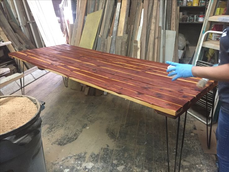 Cedar table with powder coated steel hairpin legs