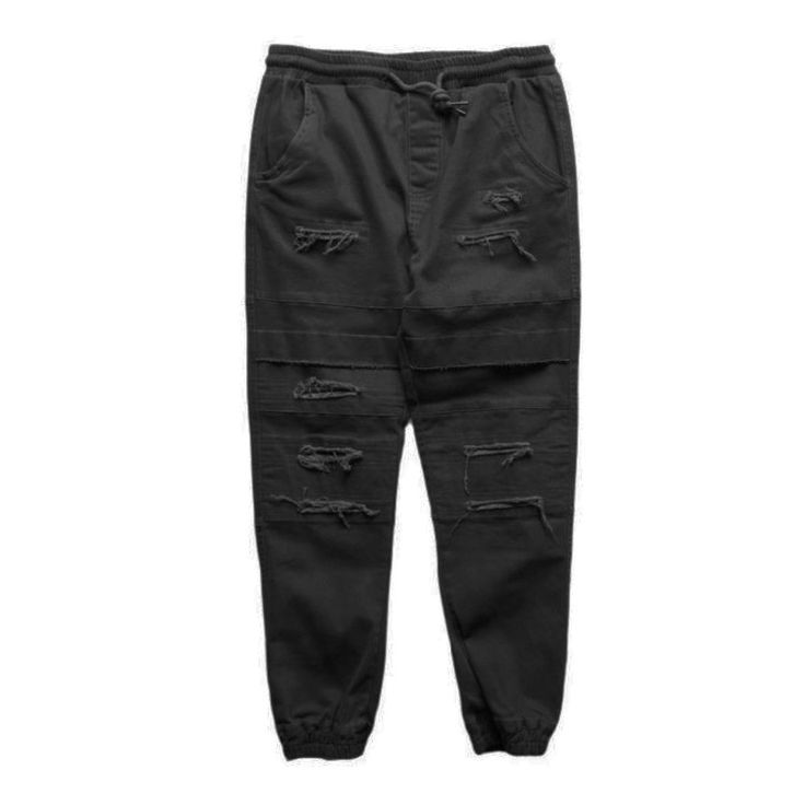 Black Double Layered Ripped Joggers (Unisex) // zargara