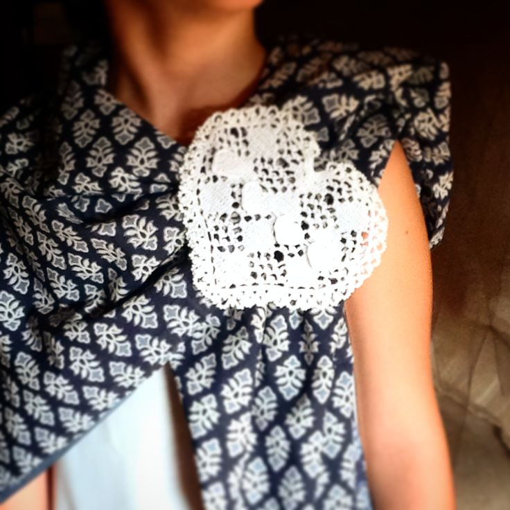 Handmade Heart pin on indian printed cotton