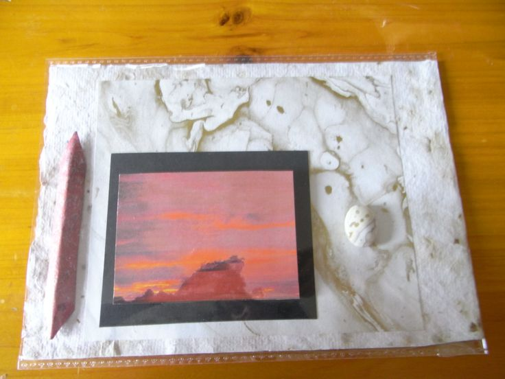 A card combining my photo and marbling.