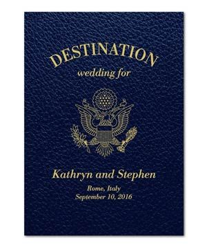 "If your love story started in a foreign land (or you're getting married in one), pass out passport-themed programs so guests can follow along as you journey toward ""I do."""