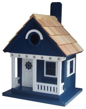 Ship's Wheel Cottage Birdhouse - Beach Style - Birdhouses - by Home Bazaar
