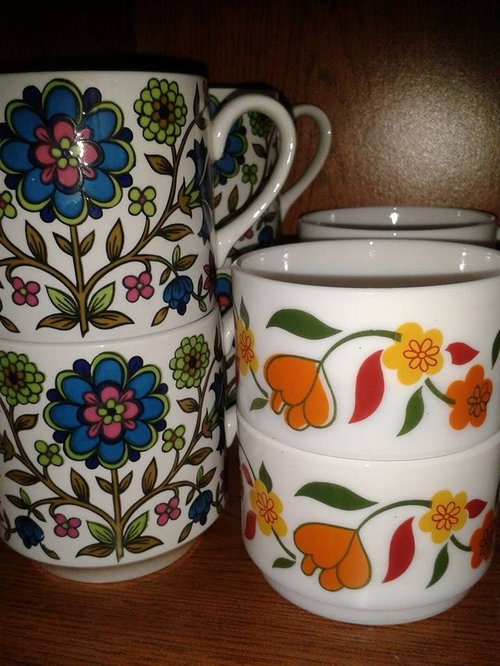 Arcopal and Midwinter coffee/tea cups vintage retro