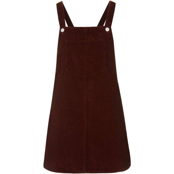 TOPSHOP PETITE Cord Pinafore Dress found on Polyvore featuring dresses, overalls, topshop, robes, burgundy, petite, burgundy dress, button dress, topshop dresses and brown dress