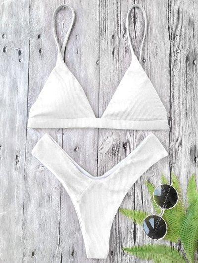 f23ce61da12 Plunge Padded Textured High Cut Bikini Set in 2019 | Zaful | High cut bikini,  Bikinis, Bikini set