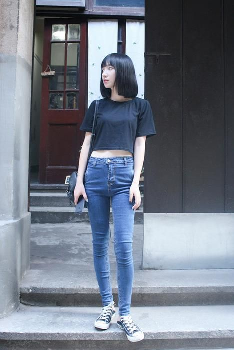 high waist, cropped top, and cropped hair