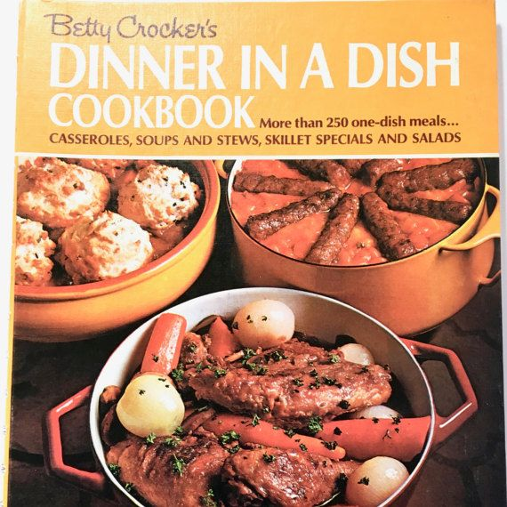 Betty Crocker's Dinner in a Dish Cookbook 1927 at #VintageVenturesShop #Etsy to buy click image #VintageKitchen #VintageCookBook #CookBook #BettyCrocker #OneDishMeals #SkilletDinners #Cooks #Chefs #Foodies #Recipes #OneDishRecipes
