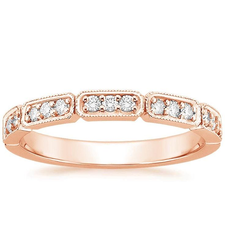 Wedding Ring Bands >> Deco Diamond Wedding Ring - 14K Rose Gold