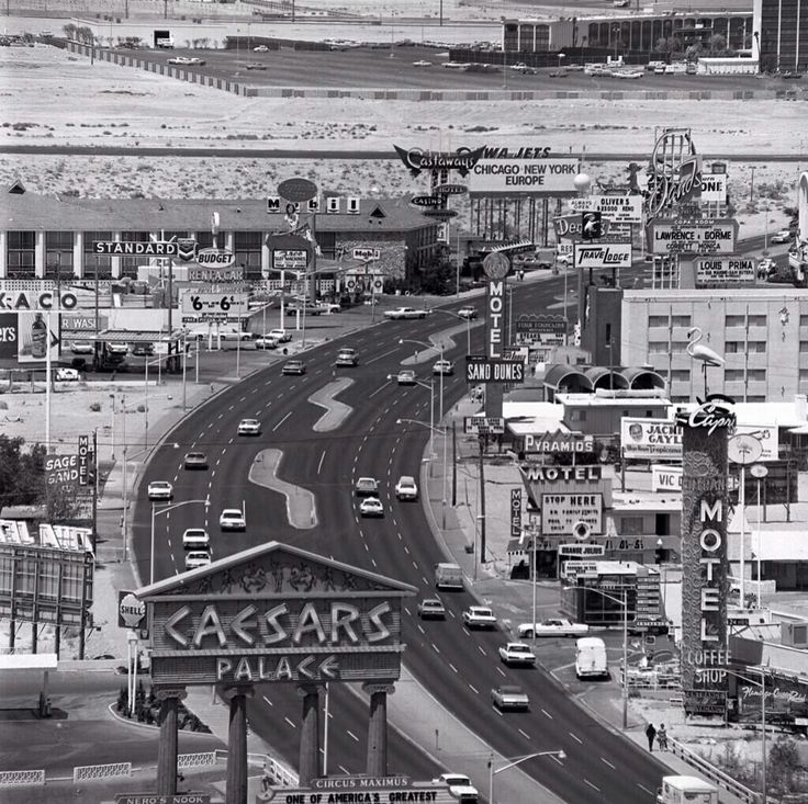 Las Vegas Strip seen from the Dunes Hotel c. 1967-68.  Sand Dunes Motel (formerly Tumbleweed Motel) dated back to the 1940s and was demolished a few years after this picture, followed by nearly everything else.