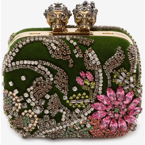 """Alexander McQueen Embroidered """"queen And King"""" Skeleton Box Clutch (62,795 MXN) ❤ liked on Polyvore featuring bags, handbags, clutches, alexander mcqueen, borse, green, multicolour, metallic purse, colorful clutches and beaded purse"""