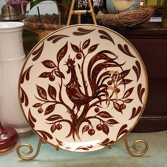 Homer Laughlin Rooster Plate Brown & Gold 9 Dinner