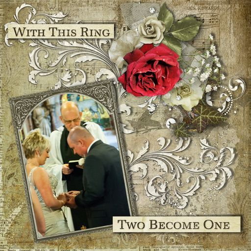 Beautiful project by @Debbie Kinally  Jennie and Alan exchange rings, kit used Vintage Wedding. #Daisytrail #CraftArtist #Serif #digital #scrapbooking #craft