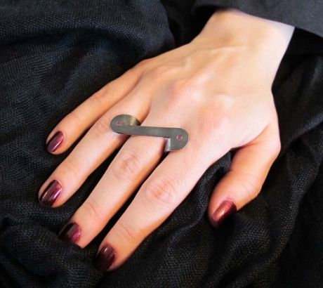 Black silver ring with ruby, silver, by Vero Lázár,  Design jewelry, art jewelry, contemporary jewelry, elegant simplicity, minimal, oxidized ring