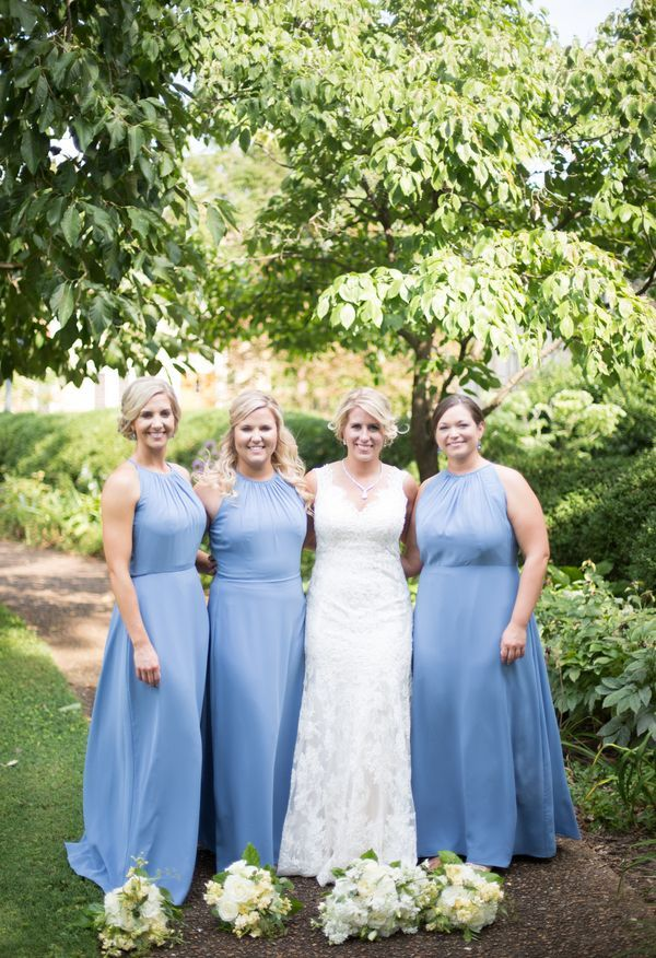 Cornflower Blue Bridesmaid Dresses | A Line Round Neck Floor Length Blue Chiffon Bridesmaid Dress With