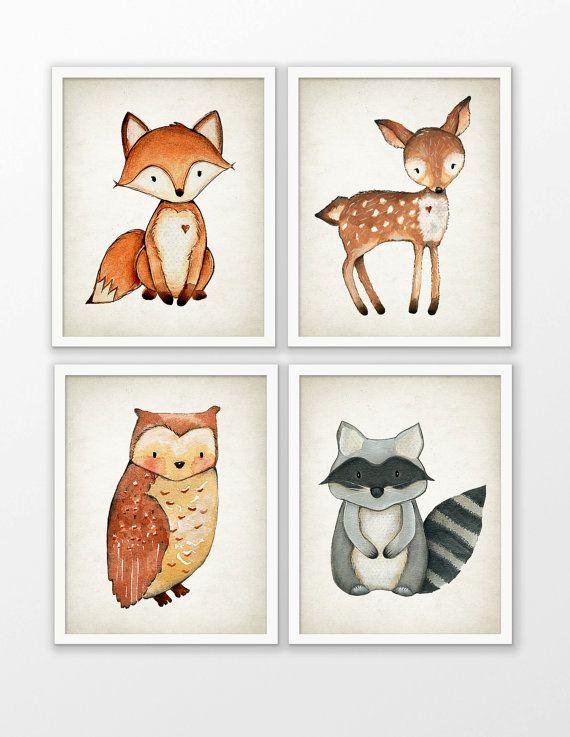 Woodland aquarel dieren kwekerij Prints Set van 4 - Fox herten Owl wasbeer speelkamer Decor - Forest dierlijke foto