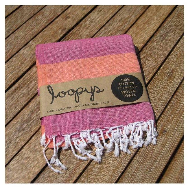 Pink Lemonade/ Sherbert Candy Stripe Turkish Peshtemal Beach Towel
