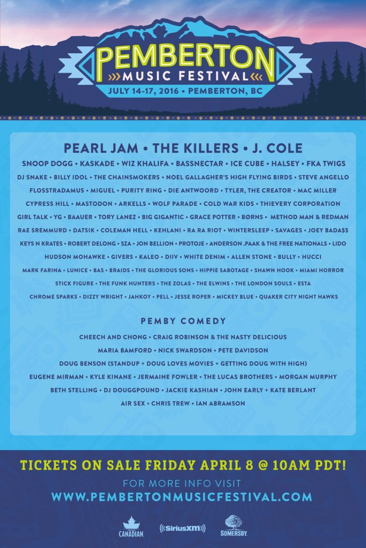 Pemberton has revealed its 2016 lineup. The three-day music festival takes place July 14th – 17th in Pemberton, British Columbia, Canada. Notable acts includ...