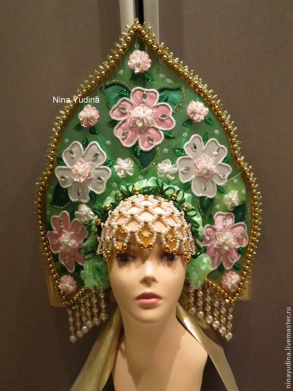 Корона цветочная. - зеленый,кокошник,корона,цветочный,для хора,для праздника