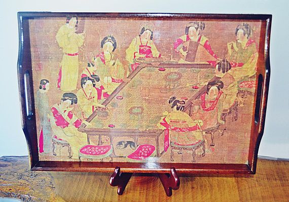 Japanese Wood Tray With Signed Print Vintage Wood Tray
