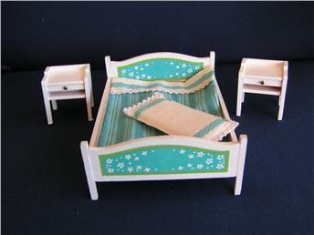 Lundby sovrum 3 delar 70-tal säng +  två sängbord