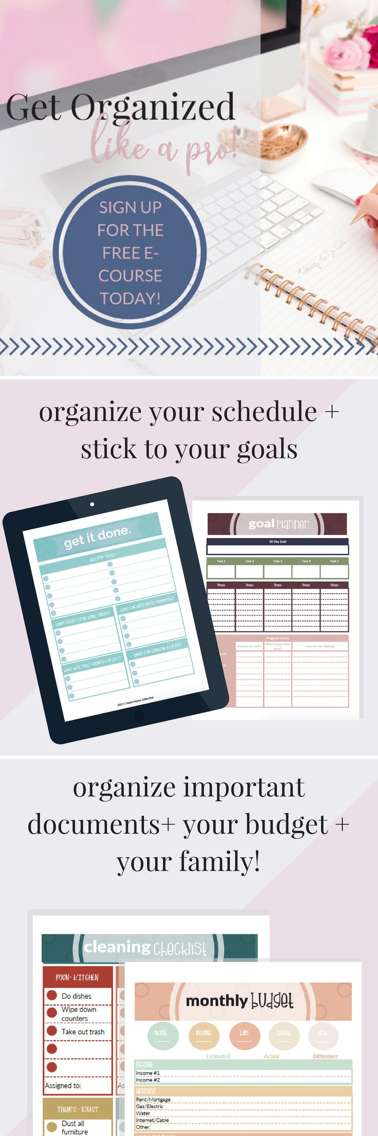 """Do you find yourself scribbling down appointments, notes, and other important info on sticky notes, scraps of paper, napkins, etc.? In this course, I'll show you: >> How to organize your schedule + overcome the overwhelm >> How to set (and stick to) 90 day goals >> How to find the organization system that works for you, because organization isn't """"One Size Fits All"""" >> How to organize your budget + spending >> How to get your family on the organization bandwagon (and keep them there!)"""