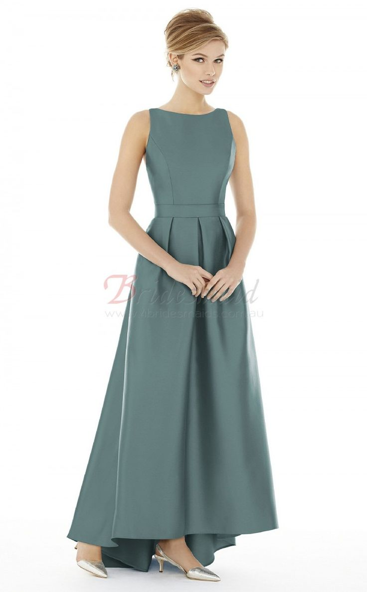 Gray A-line Satin Bateau Asymmetrical Bridesmaid Dresses(BD1496)