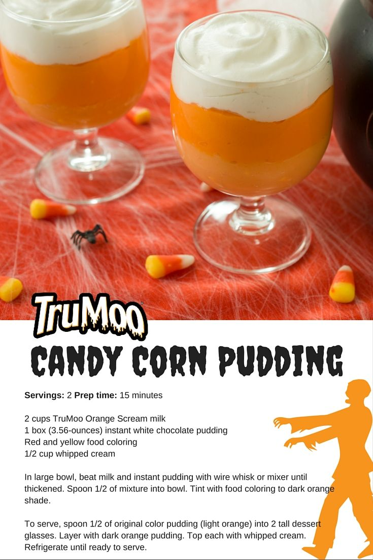 halloween candy corn pudding recipe made with trumoo orange scream milk - Easy Halloween Candy Recipes