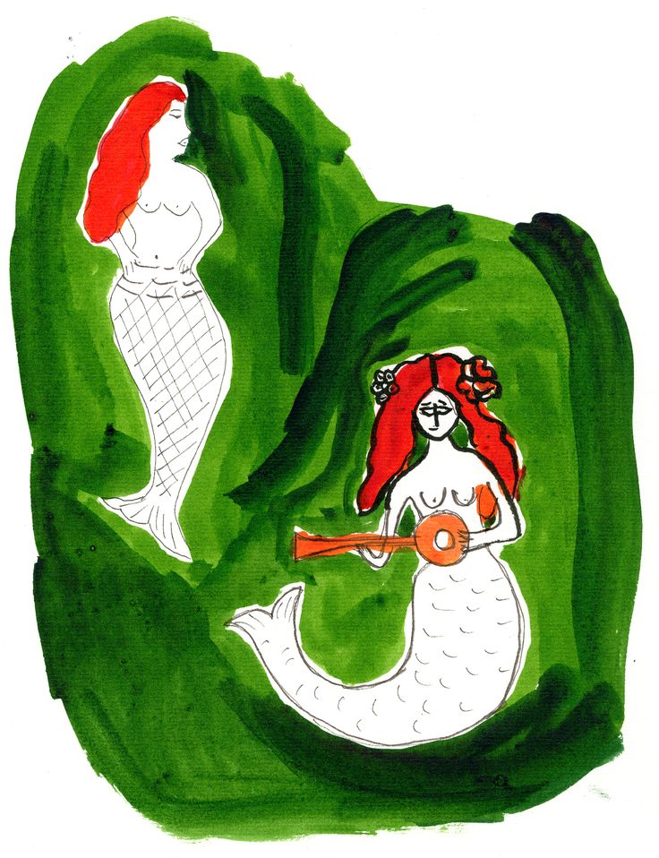 """Kirke"", original artwork by Erja Hirvi for Samuji SS15. Inspiration: Mermaids in Mexican crafts"