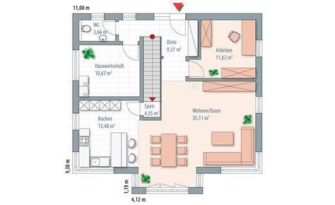 Grundriss EG Wolf-Haus Edition 168