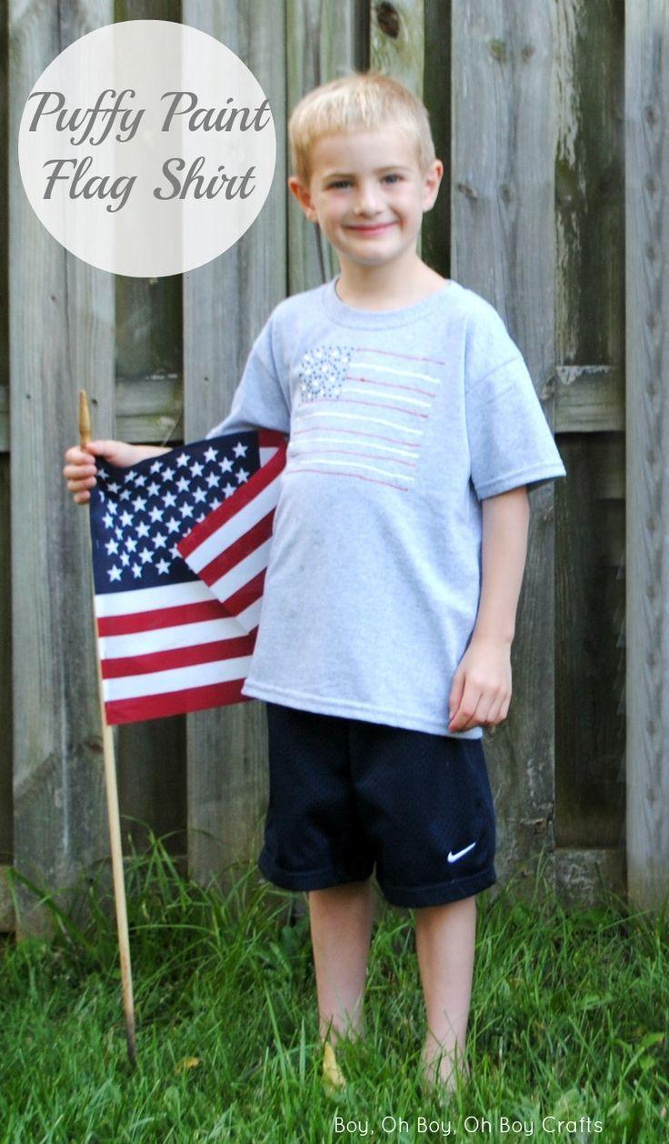 DIY Fabric Puffy Paint Flag Shirts