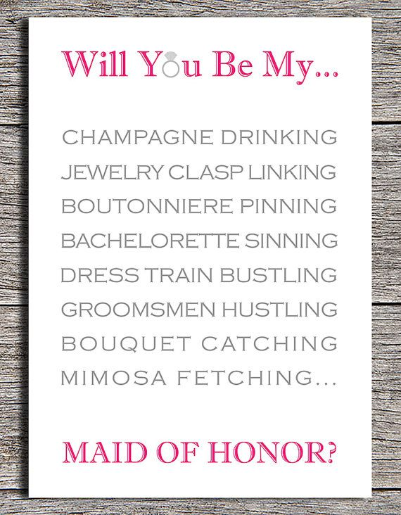 "Printable ""Will You Be My Maid of Honor?"" card By Paper Hat Designs on Etsy, $5                                                                                                                                                                                 More"