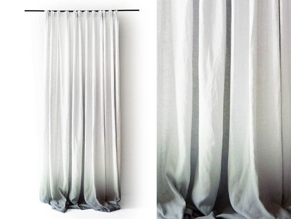 Ombre linen drapes Grey fade to white Pinch pleat window curtain Blackout lining…