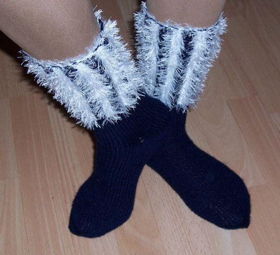 Hand Knitt Socks Women Wool Socks Striped Socks Navy by evefashion