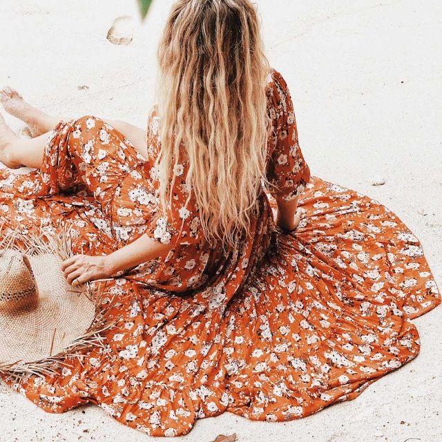 Шифон С Длинным Рукавом макси пляж dress Женщины bohemia orange цветочный принт V-образным Вырезом летние платья 2017 vestidos цыган хиппи одежда