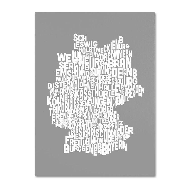 22 in. x 32 in. Germany Regions Map - Neutral Canvas Art