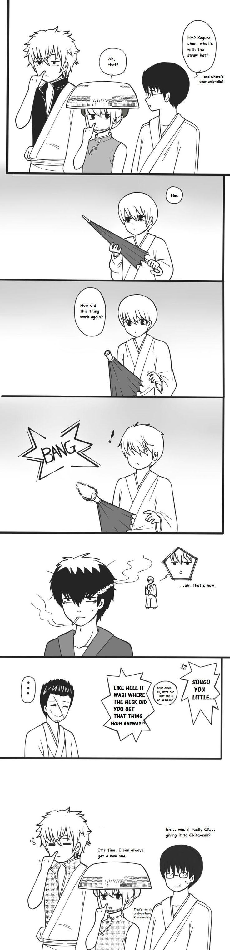 (*´∇`*) Lol I love this! Yeah I'm with Shin.. Don't think I would have gave it to Okita-san.. XD