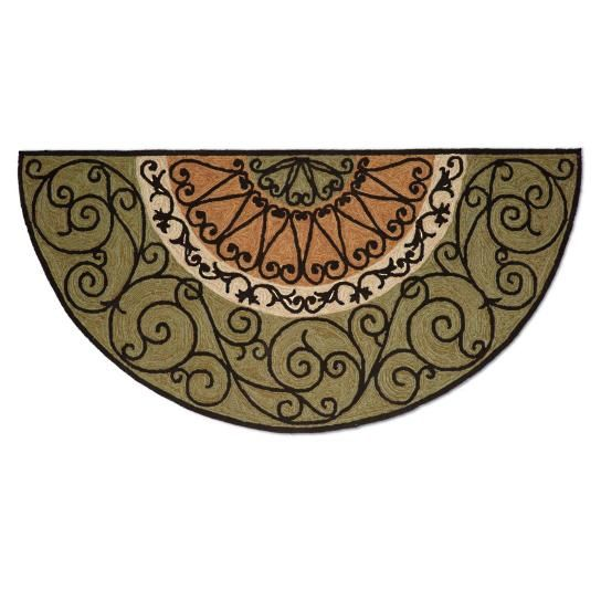 Greet guests with our distinctive Irongates Half-round Mat, featuring elegant scrollwork and a nonfading color palette. Handsomely hand-hooked from        durable, UV-treated polyester/acrylic that fade resistant and stands up to the toughest outdoor elements.       Looks like an indoor mat, but durably crafted for outdoors                Resilient fibers stop dirt and water outside the door                            Unique half-round shape is suited for in a foyer or entry hall...
