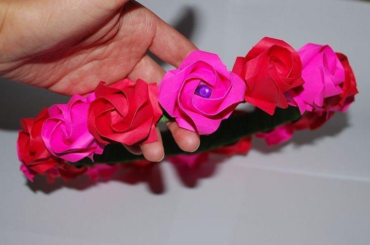 Bridal Hairband Headband Origami Roses Wedding Crown Headpiece Wreath Red #Handmade #Headbands #wedding