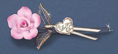 "Glass Baron ~ Pink Rose ""I Love You"" ~ 22kt gold trim ~ Great Gift ~ 6.5"" ~ NIB"