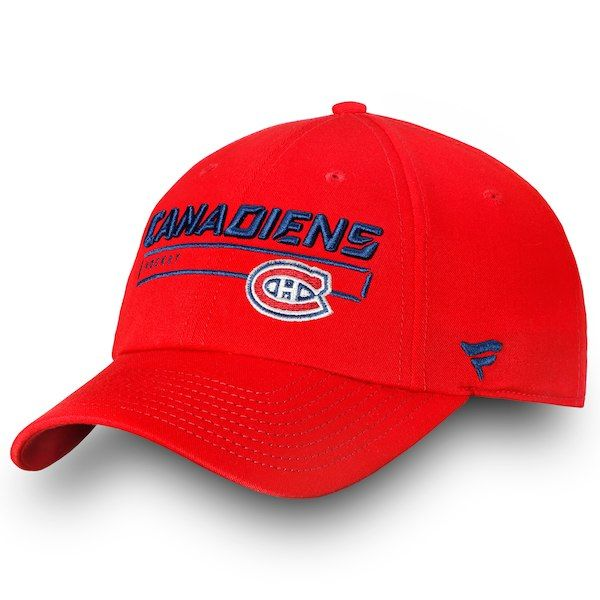 ca9378db474 Men s Montreal Canadiens Fanatics Branded Red Authentic Pro Rinkside  Fundamental - Adjustable Hat