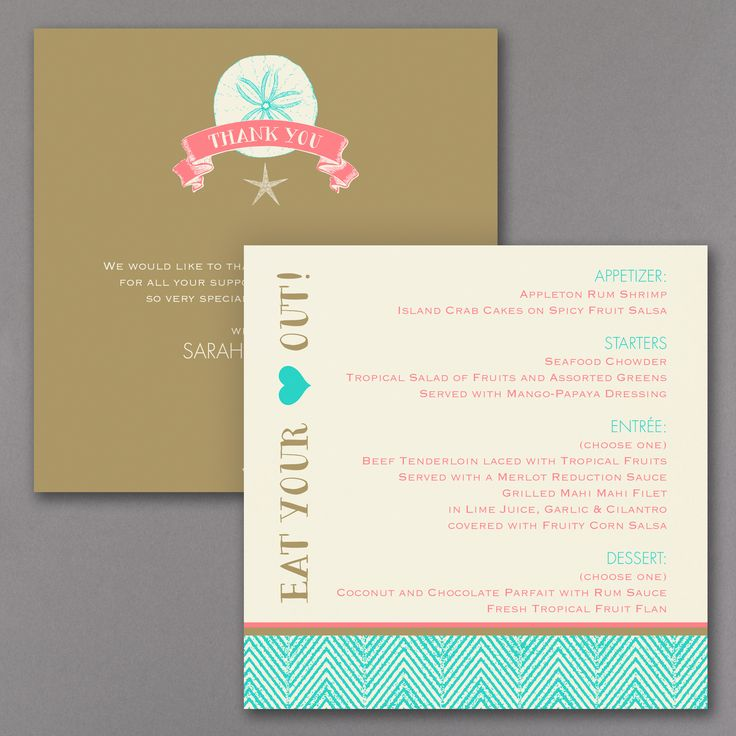 Starfish Square Menu Card You wonu0027t have