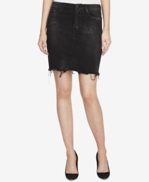 William Rast Metallic Denim Skirt - Black 27
