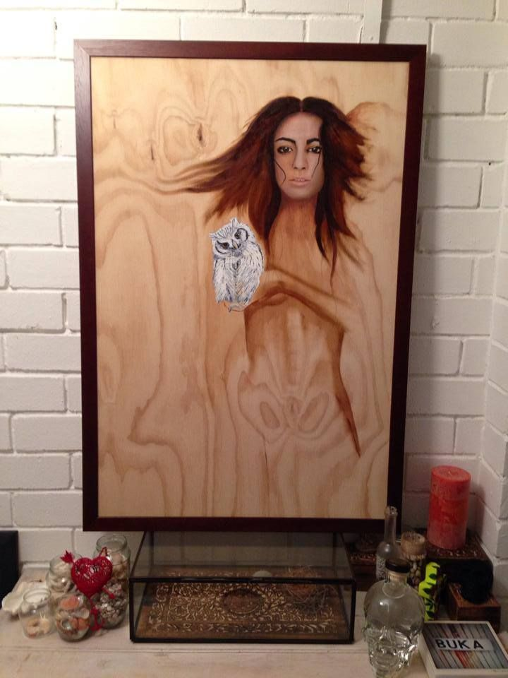 SARAH / The Owl Effect Oil Painting on wood contact me for purchase details sarahsheehanillustration@yahoo.com.au