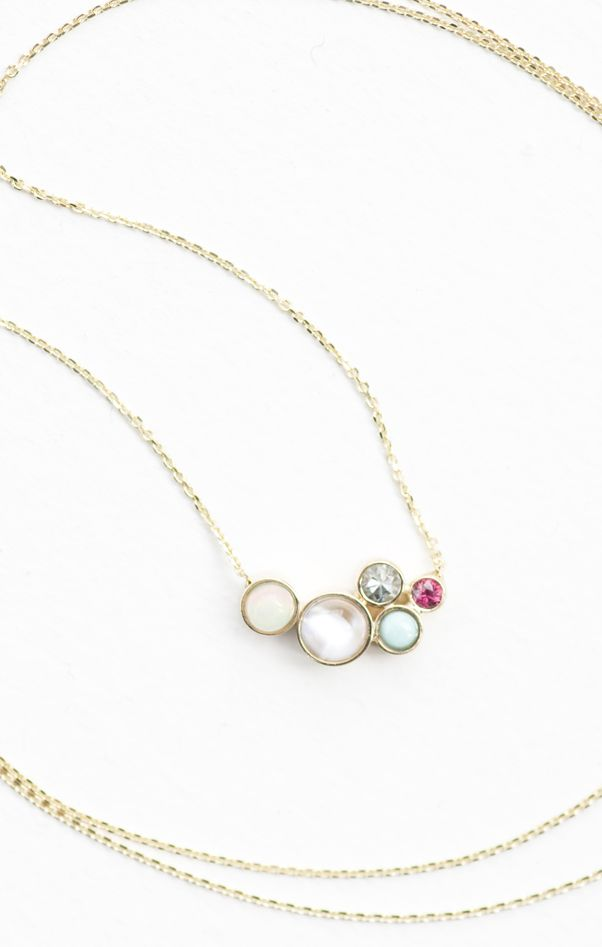 Mociun custom designed family birthstone necklace with Opal, Moonstone, Ruby, Turquoise, and Diamond set in 14K Yellow gold