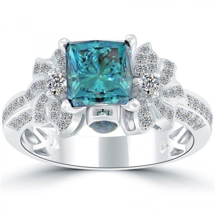 281 carat fancy blue princess cut diamond engagement ring 18k white gold thumbnail 1