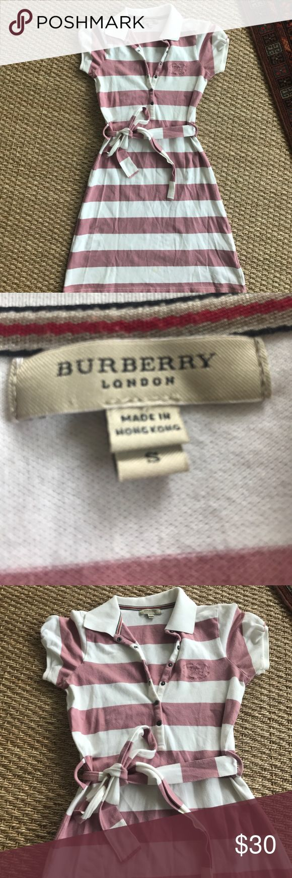 Adorable Burberry brand belted polo dress In perfect condition very lightly worn Burberry brand polo dress. Cap sleeve Burberry Dresses Mini