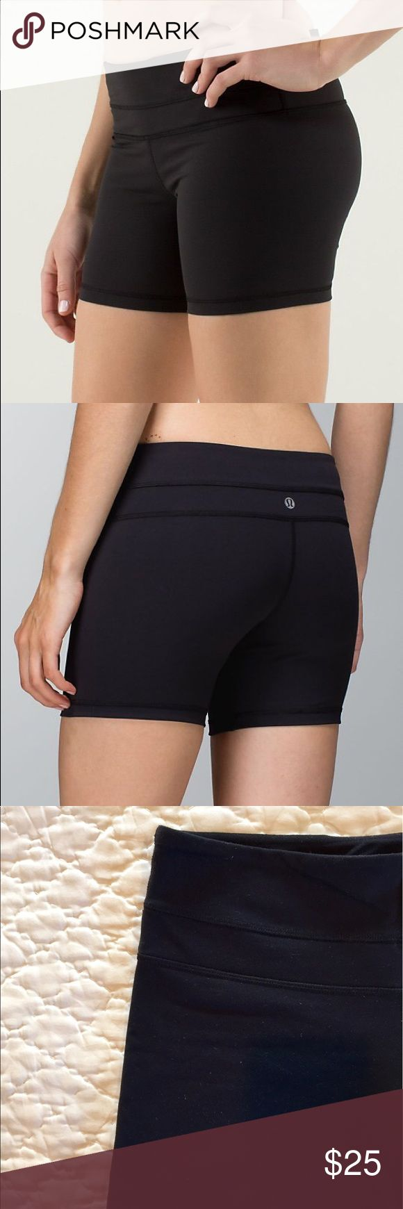 ✨Lululemon Groove Shorts!✨ Black Lululemon shorts with hidden pocket in waistband. Can be worn high waisted and conform nicely so there is movement as you run, walk, do yoga or train. Minimal wear. Will fit for those who wear either size 4 or 6 in Lululemon bottoms. lululemon athletica Shorts